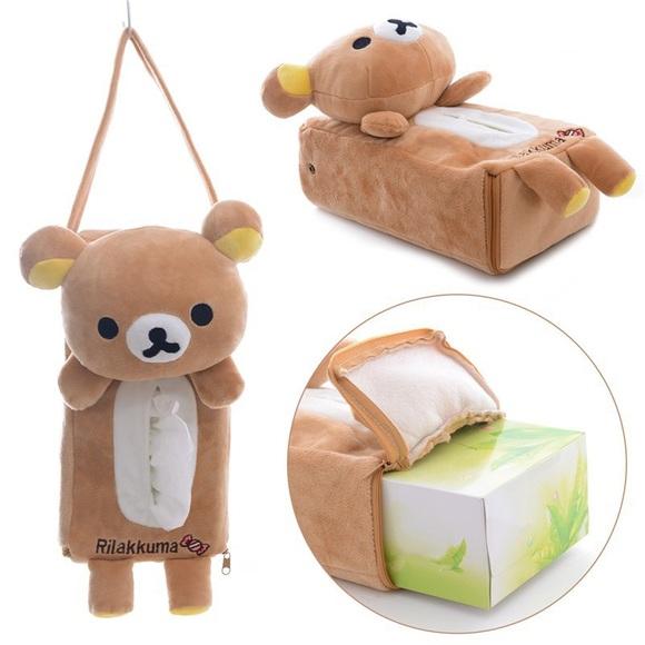 NWT Rilakkuma Bear Soft Plush Tissue Box Cover